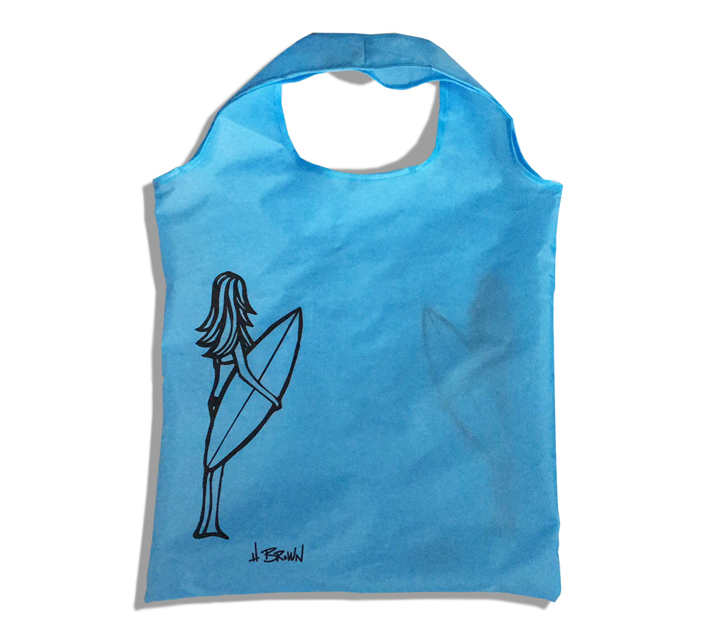 """Surfer Girl"" reusable and collapsible drawstring grocery bag by Heather Brown Art"