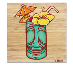 Tiki Mug - Bamboo wood print of a stylized classic Hawaiian Tiki mug with a flower and umbrella by tropical artist Heather Brown