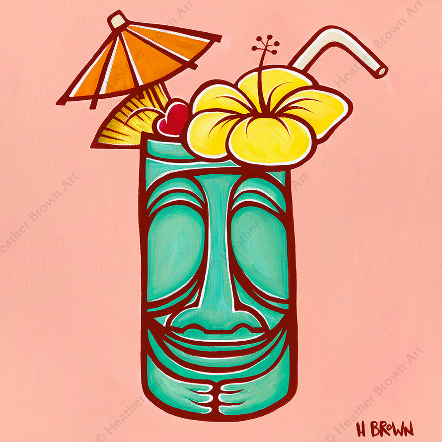 """Tiki Mug"", featuring a stylized classic Hawaiian Tiki mug with a flower and umbrella, is one of North Shore Oahu tropical artist Heather Brown's new Hawaiiana Elements Series of paintings."