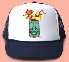 """Tiki Mug"" Trucker Hat - Wearable Art by Tropical Artist Heather Brown"