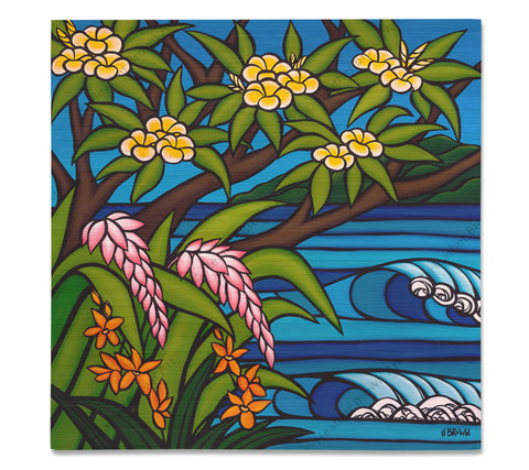Tropical Hawaii - Bamboo wood print of several beautiful, bright colored flowers native to Hawaii by tropical artist Heather Brown