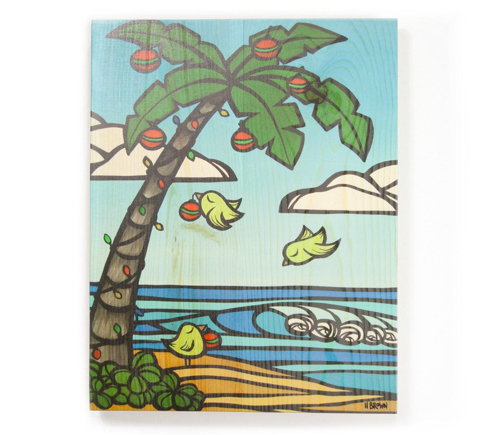 Tropical Christmas - Open Edition Wood Panel Print by Heather Brown