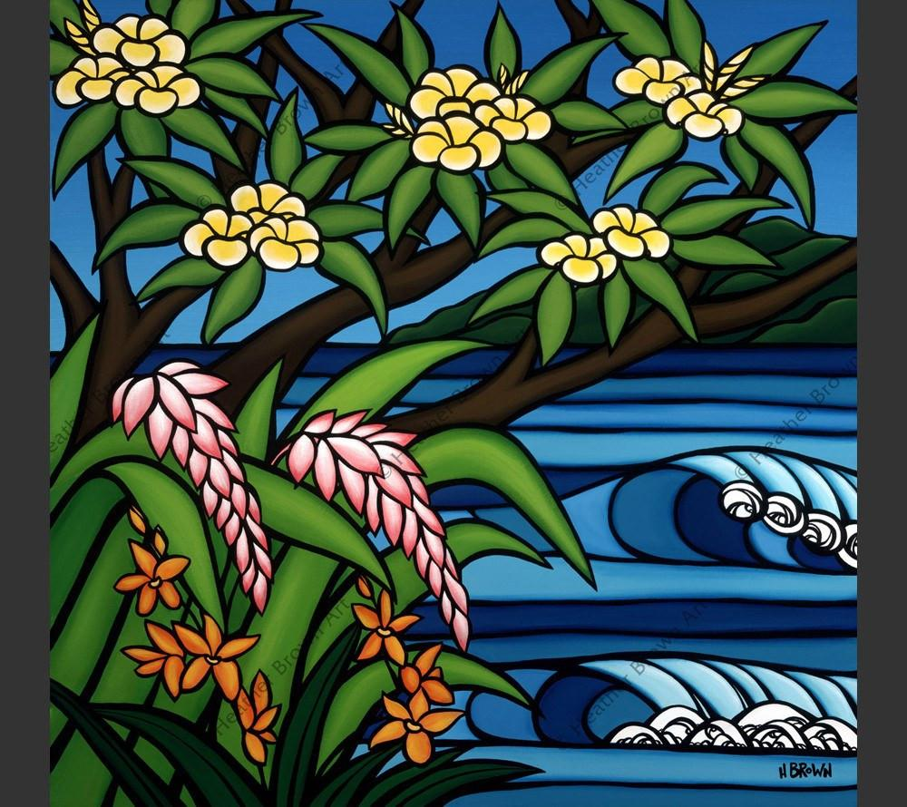 Tropical Hawaii - Pink Ginger, Yellow Plumeria and beautiful Heliconia flowers frame a surfer's paradise by Hawaii surf artist Heather Brown