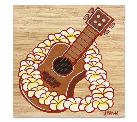 Ukulele - Bamboo wood print of a Hawaiian ukulele framed by a beautiful flower lei by tropical artist Heather Brown