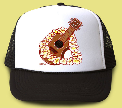 """Ukulele"" Trucker Hat - Wearable Art by Tropical Artist Heather Brown"