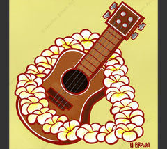 "Ukulele - Matted print from the ""Hawaiiana Elements Series"" by North Shore Oahu Tropical Artist Heather Brown featuring a Hawaiian ukulele framed by a beautiful flower lei."