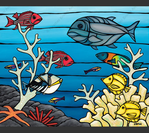 Under the Sea - Painting by Heather Brown featuring a underwater look into a tropical reef and it's marine life.