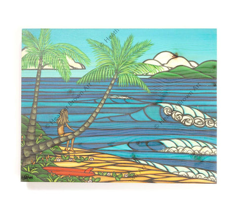 Wahine He'e Nalu - Open Edition Wood Panel Print by Heather Brown
