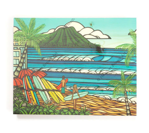 Waikiki Holiday - Open Edition Wood Panel Print by Heather Brown