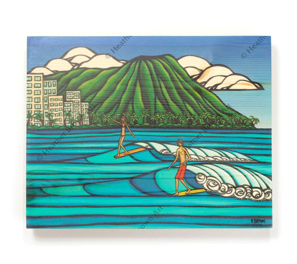 Waikiki Logging - Open Edition Wood Panel Print by Heather Brown