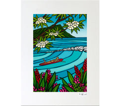 Matted print featuring a Waikiki Surf Girl painted by Heather Brown