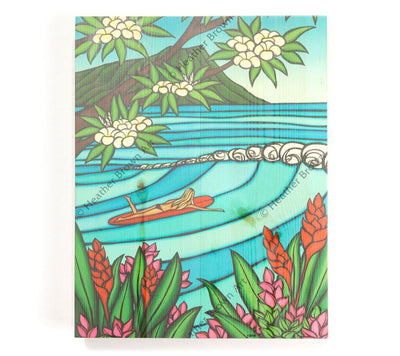 Waikiki Surf Girl - Open Edition Wood Panel Print by Heather Brown