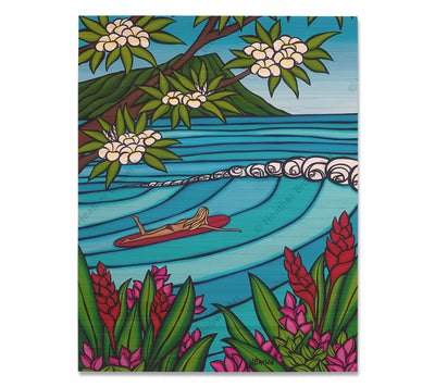Waikiki Surf Girl - Bamboo wood print of Hawaiian flowers, Diamond Head, and a surfer girl heading out on the gorgeous blue waves by tropical artist Heather Brown