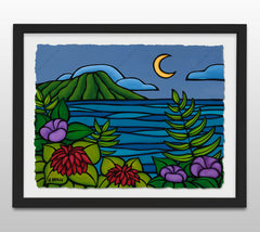 Waikiki Twilight - Black Framed Deckled Paper Print by Heather Brown