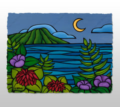 Waikiki Twilight - Deckled Paper Print by Heather Brown
