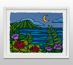 Waikiki Twilight - White Framed Deckled Paper Print by Heather Brown