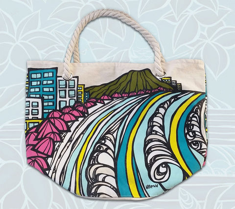 """Waikiki Coastline"" rope handle canvas tote bag by Heather Brown Art"