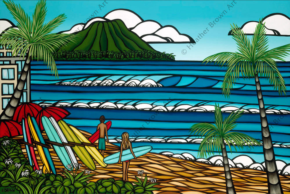 Waikiki Holiday - A surfing couple in front of Diamond Head, Waikiki by Hawaii surf artist Heather Brown