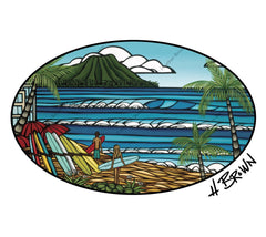 Waikiki Holiday Trucker Hat - Artwork by Hawaii surf artist Heather Brown