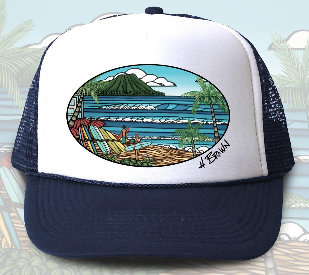 Waikiki Holiday Trucker Hat by Hawaii surf artist Heather Brown