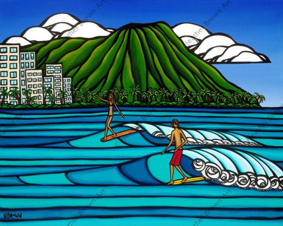 Waikiki Logging - Surf artist Heather Brown rides alongside two surfers riding traditional longboards