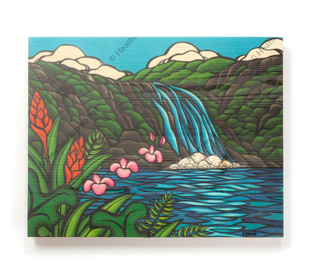 Waimea Falls - Open Edition Wood Panel Print by Heather Brown