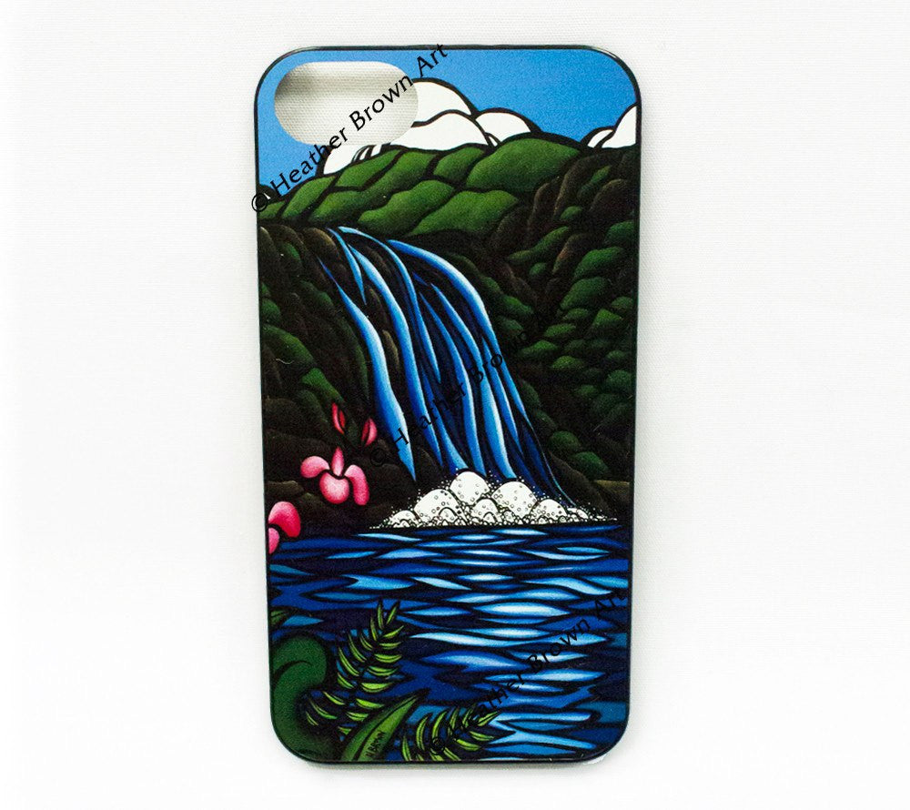 Waimea Falls iPhone Case - A beautiful waterfall and tropical flowers by Hawaii artist Heather Brown