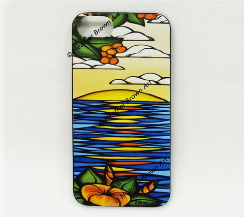 Hibiscus Sunset iPhone Case – Vibrant colors of a Hawaii sunset by Heather Brown