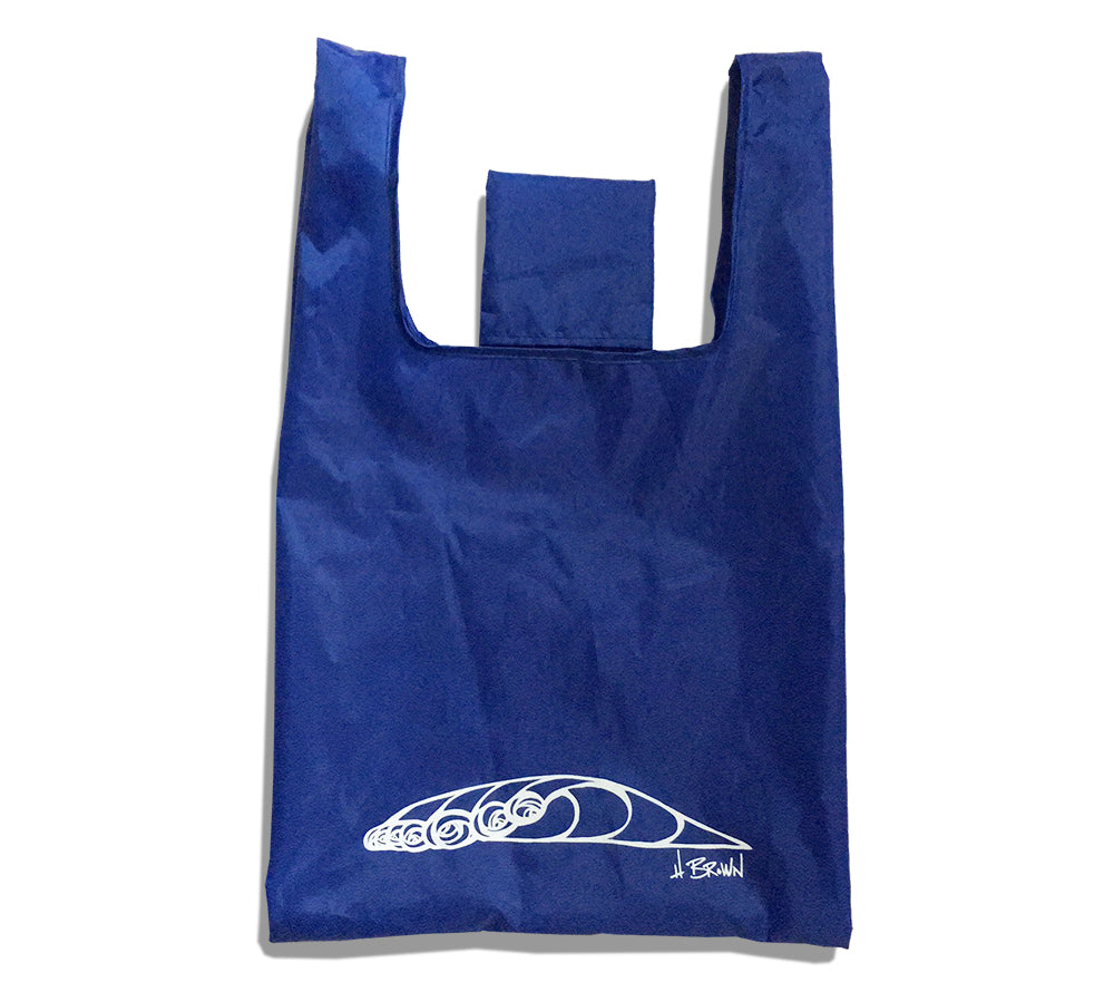 """Wave"" reusable and collapsible folding grocery bag by Heather Brown Art"
