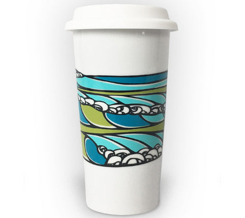 Wave Coffee tumbler with iconic surf art by Heather Brown Art