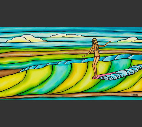 Weekend Slide - Painting featuring a surfer girl catching an epic, colorful wave by tropical artist Heather Brown