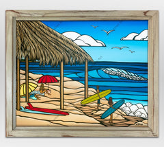 Framed beach painting from Hawaii surf artist Heather Brown