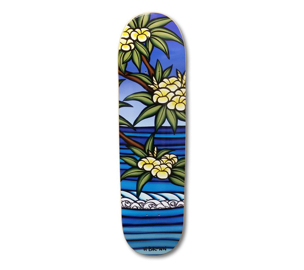 Skateboard with flower and wave art by Heather Brown