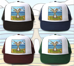 """Yoga Bunny"" Trucker Hat is available in four hat colors"