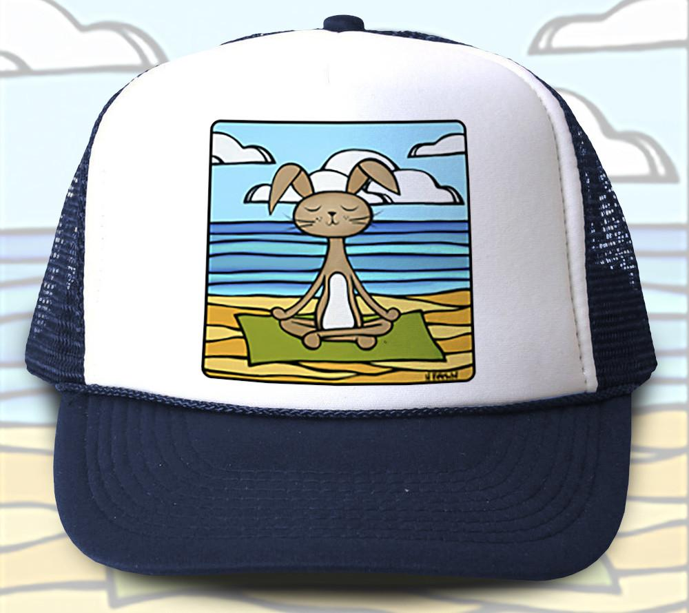 """Yoga Bunny"" Trucker Hat - Wearable Art by Tropical Artist Heather Brown"