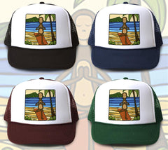 """Yoga Monkey"" Trucker Hat is available in four hat colors"