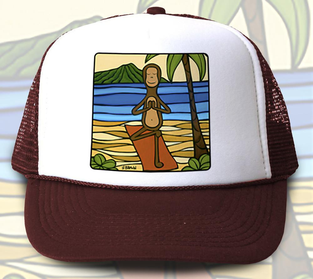 """Yoga Monkey"" Trucker Hat - Wearable Art by Tropical Artist Heather Brown"