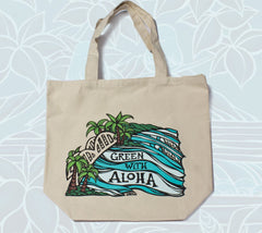 """Haleiwa Bridge"" Green with Aloha tote bag by Heather Brown Art"