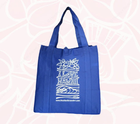 """I Love Hawaii"" re-usable tote bag by Heather Brown Art"