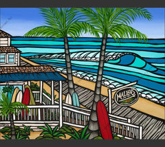 Malibu's Surf Shop - Painting of the iconic Surf Shop in Ocean City, Maryland by Hawaii surf artist Heather Brown