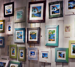 Reclaimed Wood Frames (Mat Prints) Classic Green, White, Blue, Dark Grey, Pink and Yellow by Heather Brown Art