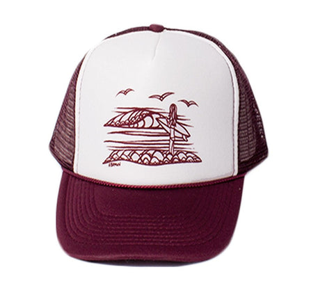 Maroon - Surf Girl Trucker Hat by Hawaii surf artist Heather Brown