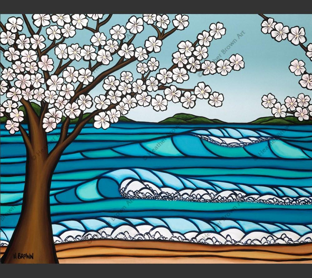 Sakura - Japanese Cherry Blossoms in bloom by Hawaii surf artist Heather Brown