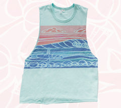 Teal Muscle tee from Heather Brown and Rip Curl surf apparel