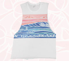 Women's active wear muscle tee from Rip Curl and Heather Brown Art