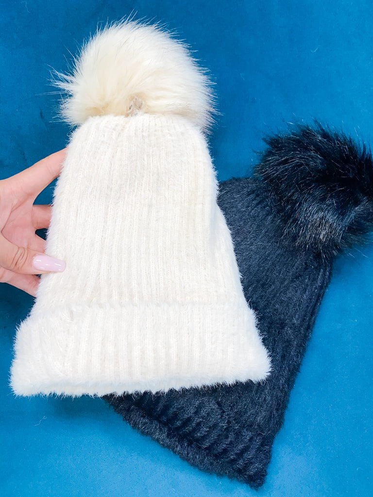 Faux Fur Lined Beanie with Pom