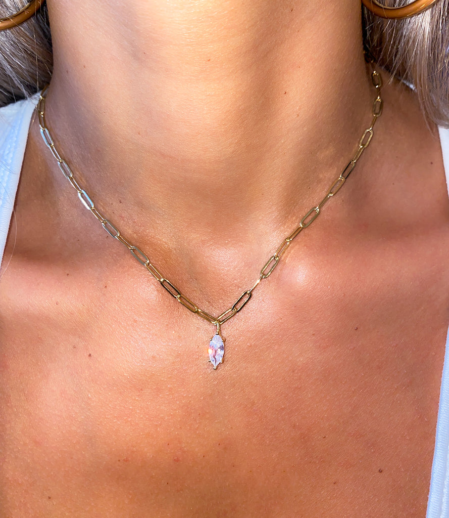 Linked Marquise Lariat Necklace