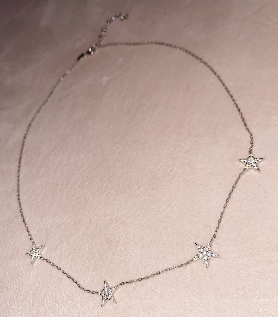 Starry Eyed Pave Crystal Star Necklace