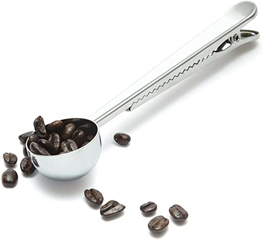 Coffee Spoon with Clip - Shiny silve