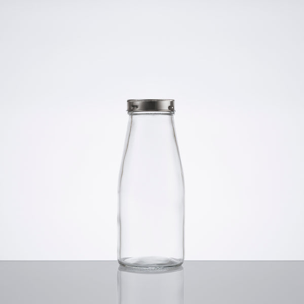 GLASS BOTTLE w/metal cover